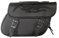 "14"" W x 10"" H WATERPROOF SADDLEBAGS w/ FLAMES LOGO - D54"