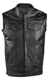 MOTORCYCLE LEATHER VEST w/SNAP & CHEST SLASH POCKETS - D67
