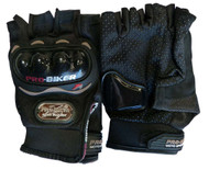 MOTORCYCLE PRO-BIKER CARBON FIBER FINGERLESS GLOVES - D69