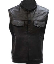 MOTORCYCLE BIKER LEATHER VEST w/SNAP & ZIPPER SLASH POCKETS - DA2