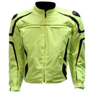 MENS MOTORCYCLE REFLECTIVE STRIPES SPORTS NEON JACKET w/ ZIP-OUT LINING - DA25