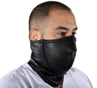 MOTORCYCLE GENUINE LEATHER ADJUSTABLE FACE SKI MASK NECK WARMER - DA42