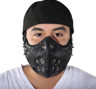 MOTORCYCLE GENUINE LEATHER ADJUSTABLE FACE MASK w/ SPIKES - DA43