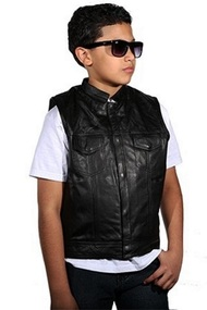 SOA LEATHER KIDS BOYS GIRLS VEST w/SNAP & FRONT SLASH POCKETS - DA48