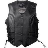 WOMENS BIKER MOTORCYCLE BRAIDED LEATHER VEST w / LACE - DA49