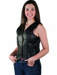 WOMENS MOTORCYCLE BRAIDED LEATHER VEST w / LACES ON BACK - DA51
