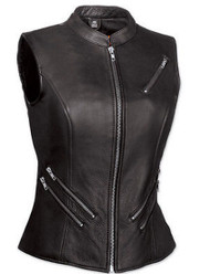 WOMENS MOTORCYCLE LEATHER VEST w / ZIPPER & GUN POCKETS - DA56