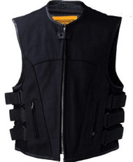 MENS MOTORCYCLE SWAT STYLE CANVAS VEST w/ GUN POCKETS - DA57