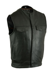 MENS COLLARLESS LEATHER MC CLUB VEST w/ GUN POCKETS- MA10