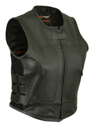 WOMENS MOTORCYCLE LEATHER VEST SWAT STYLE - MA12