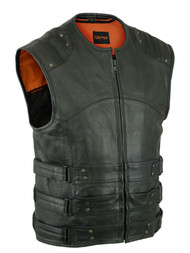 MENS MC BIKER CLUB PREMIUM LEATHER VEST SWAT STYLE - MA13