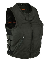 WOMENS MOTORCYCLE BLACK TEXTILE VEST SWAT STYLE - MA14