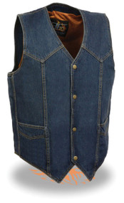 MENS BLUE PLAIN DENIM VEST W/ SNAP BUTTONS & GUN POCKETS - SA40