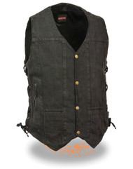WOMEN'S MOTORCYCLE BLACK 6 POCKET TEXTILE VEST - SA38