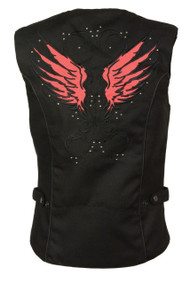 WOMENS RED MOTORCYCLE TEXTILE REFLECTIVE VEST w/ STUDS & WINGS - SA33