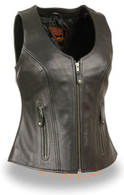 WOMENS MOTORCYCLE SOFT BLACK LEATHER VEST - SA31