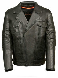 MENS UTILITY POCKET LEATHER MOTORCYCLE JACKET - SA29