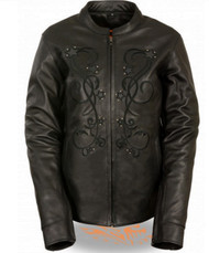 WOMENS REFLECTIVE STAR LEATHER JACKET- SA47