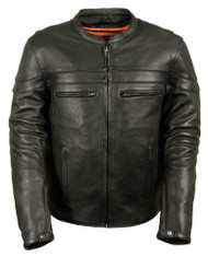 MENS LEATHER SCOOTER CROSSOVER JACKET - SA46
