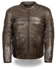 MENS RETRO BROWN LEATHER VENTED CROSSOVER JACKET - SA51
