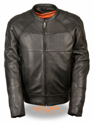 MENS LEATHER SCOOTER JACKET w/ REFLECTIVE SKULL & FLAME - SA54