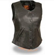 LADIES LEATHER MOTORCYCLE VEST w/ SNAP FRONT - SA61
