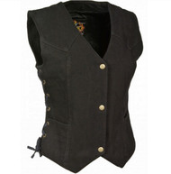 LADIES 3 SNAP FRONT DENIM VEST - SA60