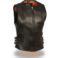 LADIES LEATHER MOTORCYCLE VEST w/ TRIPLE BUCKLE - SA59