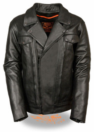 MENS MOTORCYCLE HIGH END UTILITY POCKET VENTED CRUISER LEATHER JACKET - SA57
