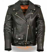 LADIES CLASSIC LEATHER MOTORCYCLE JACKET - SA77