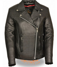 LADIES MOTORCYCLE JACKET w/ BRAID & STUD DETAILING - SA81