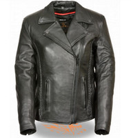 LADIES BLACK MOTORCYCLE JACKET w/ BRAID & STUD DETAILING - SA76