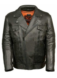 MENS MOTORCYCLE UTILITY POCKET LEATHER JACKET - SA64