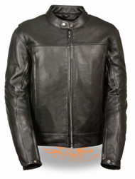 MENS MOTORCYCLE SCOOTER SNAP COLLAR VENTED LEATHER JACKET - SA65