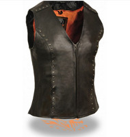 LADIES BLACK LEATHER STUDDED MOTORCYCLE VEST - SA84