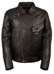 MENS MOTORCYCLE SIDE SET BELTED BLACK LEATHER JACKET w/ UTILITY POCKET - SA68