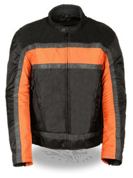 MENS MOTORCYCLE BLACK TEXTILE RACER JACKET w/ ORANGE REFLECTIVE STRIPES - SA69