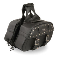 "15"" W MOTORCYCLE WATERPROOF SLANTED STUDDED SADDLEBAGS - SA22"