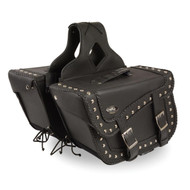 "16"" W x 10"" H MOTORCYCLE WATERPROOF STUDDED BRAIDED SADDLEBAGS - SA1"