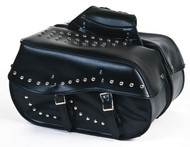 "18"" W x 10"" H HARD WATERPROOF STUDDED SADDLEBAGS - D01"