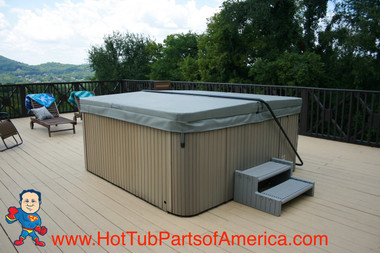 Cover Lift, E-Z Lifter, Hot Tub Loop Style Coverlift Black Powder Coated This is an example of the coverlift holding the cover in the closed position..