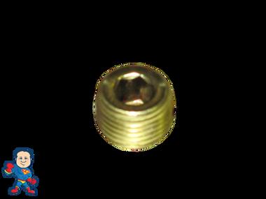 "Heater Tube Threaded Plug, 1/8""mpt, Brass"