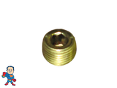 "Heater Tube Threaded Plug, 1/8""mpt, Brass"