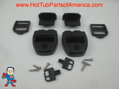 (2) Spa Hot Tub Cover Latch Strap Repair Kit & Key Hot Spring Caldera Video How To