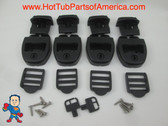 4) Spa Hot Tub Cover Latch Strap Repair Kit & Key Hot Spring Caldera Video How To