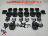 (8) Spa Hot Tub Cover Latch Strap Repair Kit & Key Hot Spring Caldera Video How To