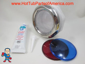 """Spa Hot Tub Chrome Light Lens Red & Blue Covers Kit Silicon 5"""" Face How To Video"""