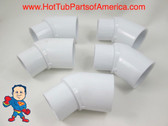 "5x Hot Tub Spa 45° 2"" Street X 2"" Slip Plumbing ELL PVC Fitting How To Video"
