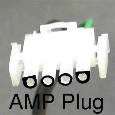 This is an Example of an AMP Plug showing the arrangement of the Flat spots on the two outer pins versus the colors... On an AMP Plug left to right would be (1) Speed Black Skip a Space White then Green.. (2) Speed Red, Black, White and Green... Note: There are rare cases when the Red wire is Low Speed and Black is High in this case you would revers the order of the black and red... To determine this compare the black wire spade connector number on the schematic on the old motor to the speed it corresponds to before unhooking to move the wire to the new motor..