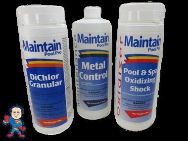 Spa Guy Chemical Kit Chlorine, Metal Control and Non Chlorine Shock..